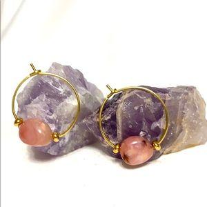 Jewelry - PINK OPAL Hoop Earrings🦩